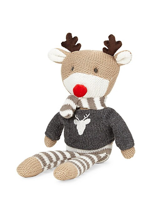 """Image of Sweet reindeer cotton knit toy wearing his reindeer sweater and striped accessories. Cotton. Wipe clean. Imported. SIZE. About 10""""H."""
