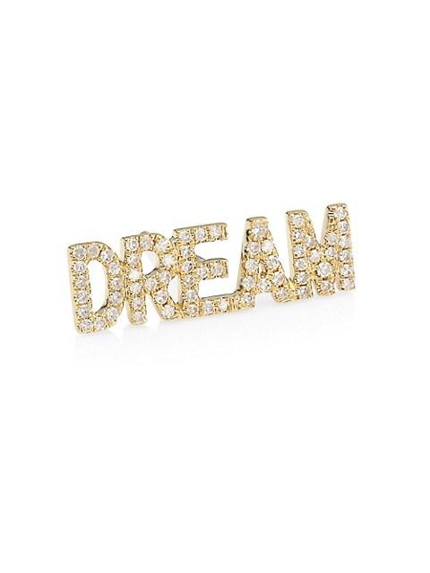 14K Yellow Gold & Diamond Dream Single Stud Earring