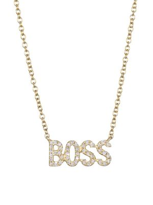 EF COLLECTION 14K Yellow Gold & Diamond Boss Pendant Necklace in Gold/Diamond