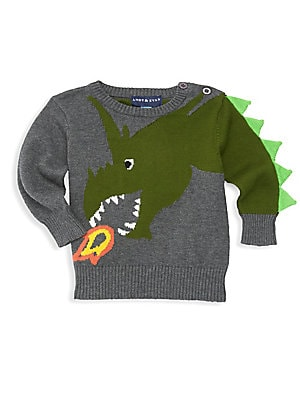 Image of Adorable fire breathing dragon with knit trim along arm highlights this soft cotton sweater. Crewneck with shoulder buttons Long sleeves Rib-knit details Cotton Machine wash Imported. Children's Wear - Classic Children. Andy & Evan. Color: Grey. Size: 12-