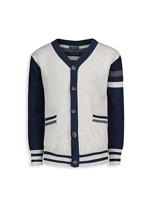 Image of Varisty cardigan knitted from soft cotton with a striped back.V-neck. Long sleeves. Button closure. Two welt pockets. Ribbed details. Cotton. Machine wash. Imported.
