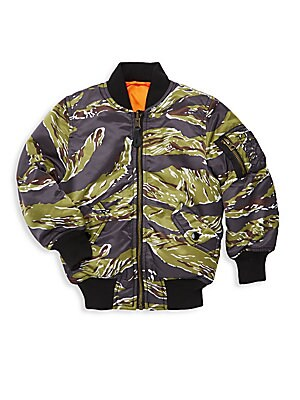 Image of Classic bomber jacket updated with a camouflage tiger print. Baseball collar Long sleeves Zip front Rib-knit trim Shoulder zip pocket Side snap flap pockets Nylon Machine wash Imported. Children's Wear - Outerwear - Children. Alpha Industries. Color: Tige