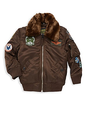 Image of Cozy bomber jacket trimmed with faux fur and decorated with military-inspired patches. Point collar Long sleeves Zip front Shoulder zip pocket Rib-knit trim Waist snap welt pockets Fur type: Faux Nylon Dry clean Imported. Children's Wear - Outerwear - Chi