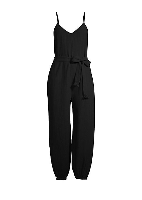 """Image of A voluminous harem-style leg with an elasticized cuff enhances this V-neck jumpsuit.V-neck. Adjustable spaghetti straps. Self-tie at waist. Scoopback. Side seam pockets. Cotton. Hand wash. Imported. SIZE & FIT. About 52"""" from shoulder to hem. Model shown"""