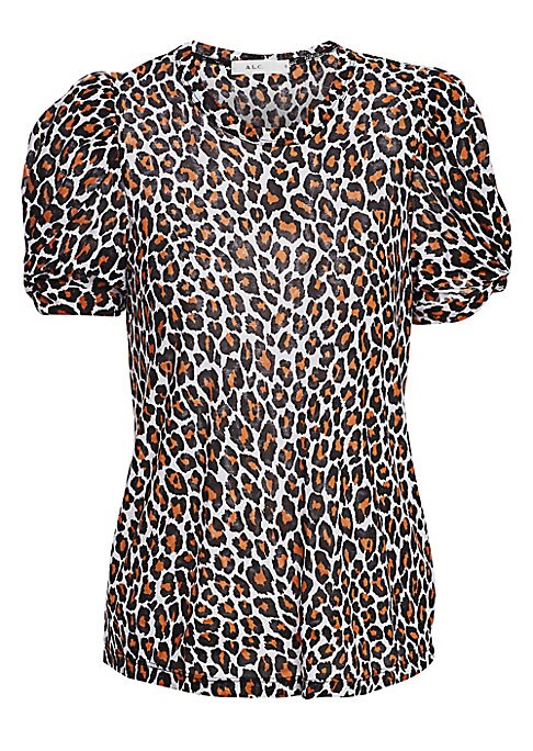 "Image of On-trend puff sleeve tee in striking leopard print. Roundneck. Short sleeves. Pullover style. Cotton. Machine wash. Made in USA of Italian fabric. SIZE & FIT. About 25"" from shoulder to hem. Model shown is 5'10"" (177cm) wearing US size Small."