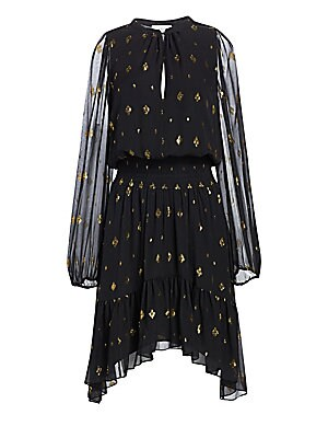 Image of Airy silk blouson dress with metallic goldtone diamond print. Roundneck Long sleeves Front concealed buttons Elasticized cuffs Shirred elasticized waistband Pleated curved hem Silk/metallic fibers Dry clean Imported SIZE & FIT Blouson silhouette About 38""