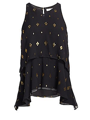 """Image of Flowy silk layered halter blouse with metallic printed finish. V-neck Sleeveless Back keyhole button close Layered design Curved hem Silk/metallic fibers Dry clean Imported SIZE & FIT Relaxed fit About 24.5"""" from shoulder to hem Model shown is 5'10"""" (177c"""