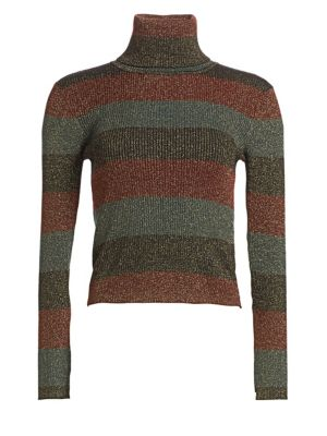 Mariel Metallic Striped Wool-Blend Turtleneck Sweater - Black Size M
