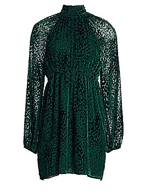 """Image of Luxe velvet fit-and-flare dress with a flirty leopard print finish. Mockneck Long sleeves Back keyhole with button closure Elasticized waistband Banded cuffs Rayon/silk Dry clean Imported SIZE & FIT Fit and flare silhouette About 34"""" from shoulder to hem"""