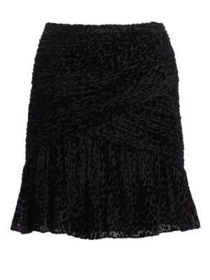 Corey Leopard-Flocked Tulle Skirt - Black Size 10
