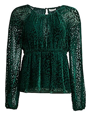 """Image of This velvet burnout blouse features an animalistic pattern and is finished with a soft peplum. Roundneck Raglan sleeves with elasticized cuffs Back keyhole button closure Elasticized waistband Rayon/silk Dry clean Imported SIZE & FIT About 23"""" from should"""