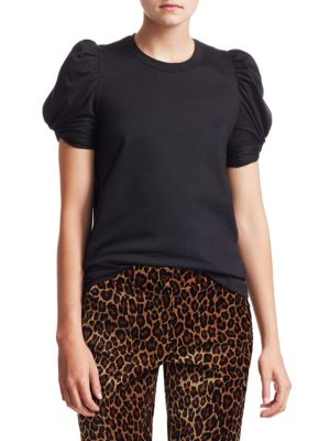 A.L.C Kati Cotton Puff-Sleeve T-Shirt - Black Size M