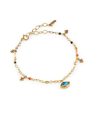 "Image of A delicate 14K goldplated sterling silver beaded bracelet adorned with a turquoise charm. Multi semi-precious stones Mexican turquoise 14K goldplated sterling silver Spring ring closure Imported SIZE Length, 6""-7.5"". Fashion Jewelry - Semi Prec Coll C. Ch"