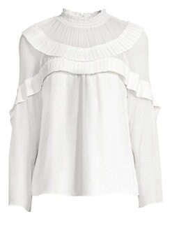 91b9d33297b59 Ramy Brook. Blake Pleated Ruffle Blouse