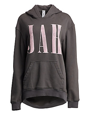 Image of Oversized cotton hoodie with a print-inspired graphic font at front. A washed out finish and a vintage-worn effect gives a lived-in look. Attached hood Long sleeves Pullover style Drop shoulders Rib-knit trim Kangaroo pouch pocket Cotton Machine wash Made