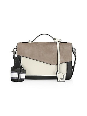 Image of Contrast leather satchel bag with wide striped adjustable and detachable strap. Double top handles Magnetic flap closure Interior split compartment Interior zip compartment Interior slip pockets Gunmetal tone hardware Leather Lined Imported SIZE Adjustabl