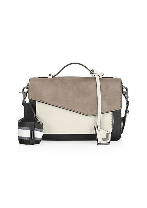 Image of Contrast leather satchel bag with wide striped adjustable and detachable strap. Double top handles. Magnetic flap closure. Interior split compartment. Interior zip compartment. Interior slip pockets. Gunmetal tone hardware. Leather. Lined. Imported. SIZE.