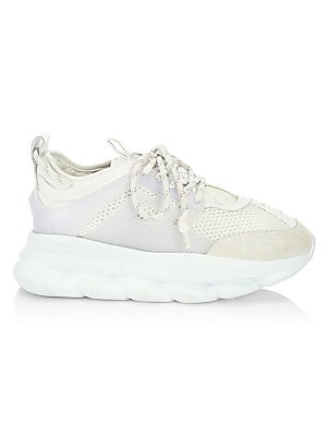 Image of On-trend chunky sneakers with sporty styling. Cotton/nylon upper Almond toe Lace-up vamp Padded insole Rubber sole Made in Italy. Men's Shoes - Designer Shoes. Versace. Color: Black. Size: 46 (13).