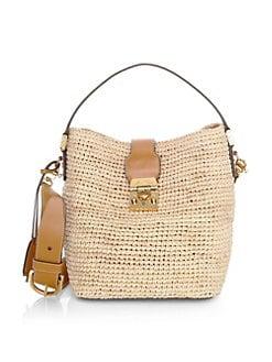 5fb3832b4ea1 QUICK VIEW. Mark Cross. Murphy Buckle Strap Raffia Shoulder Bag