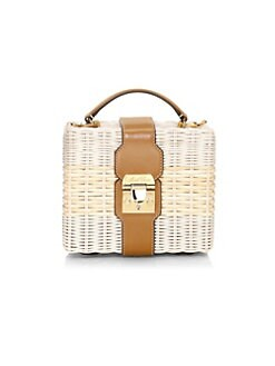 1b4add7729604 Product image. QUICK VIEW. Mark Cross. Harley Rattan Basket Weave Top  Handle Bag