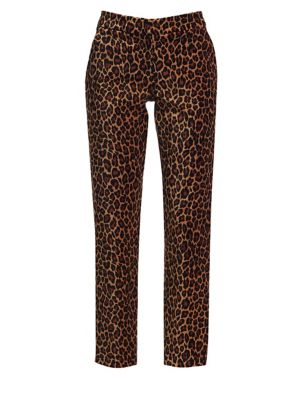 Harrison Leopard-Print Velvet Trousers Size 4 in Natural
