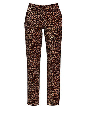 """Image of Bold leopard print elevates these sleek trousers. Banded waist Zip fly with hook closure Side slash pockets Back welt pockets Cotton/spandex Dry clean Imported SIZE & FIT Tailored-fit silhouette Rise, about 9.88"""" Inseam, about 27"""" Model shown is 5'10"""" (17"""