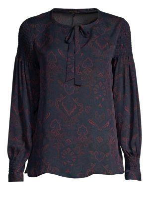 Kylee Printed Silk Blouse in Midnight Blue