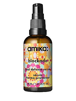 Image of WHAT IT IS Amika Blockade Heat Defense Serum protects hair from thermal styling and blow drying. Bring the heat - but keep hair safe with this lightweight serum that protects hair from thermal styling and blow drying. Free of MIT/MCI, formaldehydes, forma