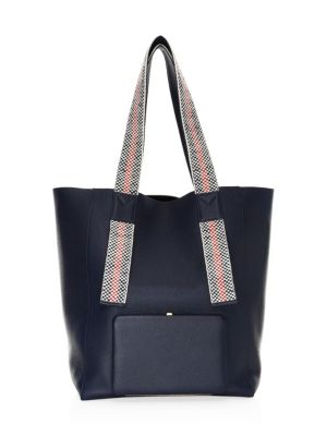 LUTZ MORRIS Handwoven-Handle Leather Tote in Navy