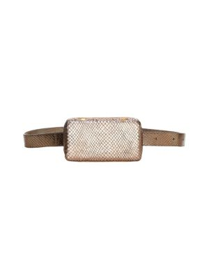 LUTZ MORRIS Italian Embossed Metalilc Leather Belt Bag in Silver