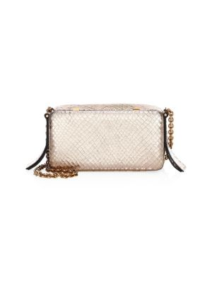 LUTZ MORRIS Embossed Leather Chain-Strap Bag in Silver
