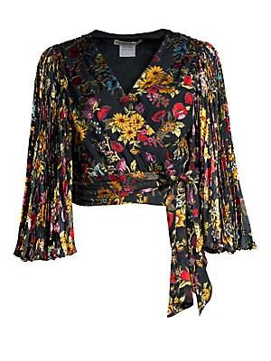 90adfffa722722 Alice + Olivia - Bray Floral-Print Chiffon Wrap Top - saks.com