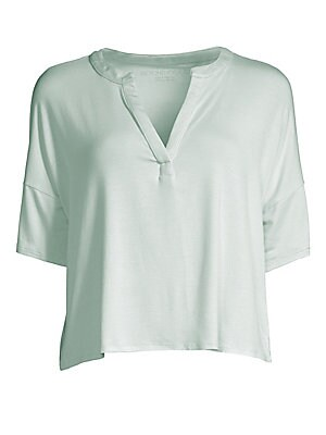 """Image of Boasting a relaxed fit, this soft tee features dropped shoulders and a split neckline. Split V-neck Short sleeves Pullover style Dropped shoulders Micro modal/spandex Machine wash Made in USA SIZE & FIT About 21"""" from shoulder to hem Model shown is 5'10 ("""