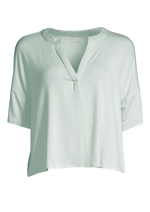 """Image of Boasting a relaxed fit, this soft tee features dropped shoulders and a split neckline. Split V-neck. Short sleeves. Pullover style. Dropped shoulders. Micro modal/spandex. Machine wash. Made in USA. SIZE & FIT. About 21"""" from shoulder to hem. Model shown"""