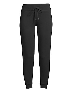 """Image of A cropped length and slightly relaxed fit enhances these tuxedo-inspired joggers with side stripe details. Drawstring waistband Pull-on style Ribbed cuffs Modal/polyester/spandex Machine wash Made in USA SIZE & FIT Rise, about 8"""" Inseam, about 28"""" Leg ope"""