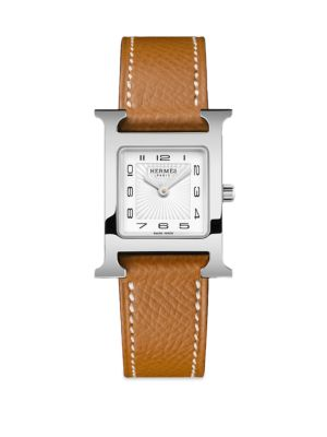 Heure H Stainless Steel Leather Strap Square Watch by HermÈs