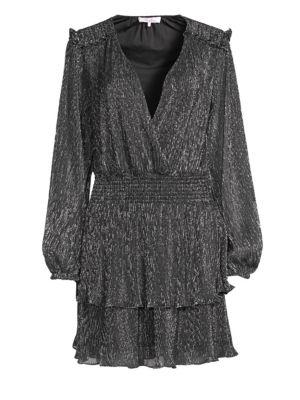 Parker Briana Lurex Ruffled Wrap Dress