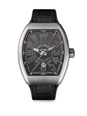 FRANCK MULLER Vanguard Stainless Steel & Croc-Embossed Leather Strap Watch in Black
