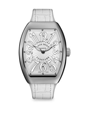 FRANCK MULLER Lady Vanguard Stainless Steel & Croc-Embossed Leather Strap Watch in White