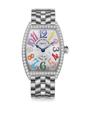 FRANCK MULLER Cintree Curvex 39Mm Color Dreams Stainless Steel & Diamond Bracelet Watch in Silver