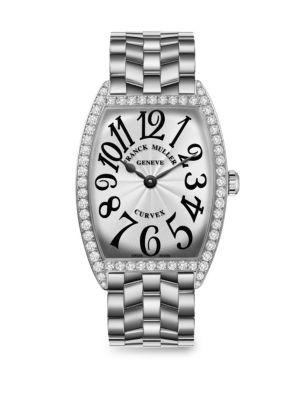 FRANCK MULLER Cintree Curvex 43Mm Stainless Steel & Diamond Bracelet Watch in Silver