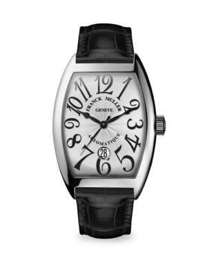 FRANCK MULLER Cintree Curvex 55Mm Stainless Steel Alligator Strap Watch in Black