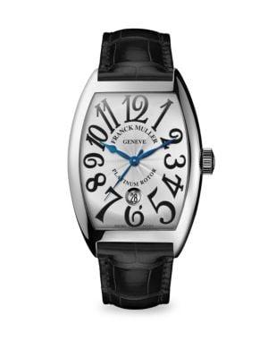 FRANCK MULLER Cintree Curvex 47Mm Stainless Steel Alligator Strap Watch in Black
