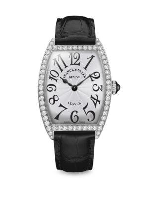 FRANCK MULLER Cintree Curvex 35Mm Stainless Steel, Diamond & Alligator-Strap Watch in Black