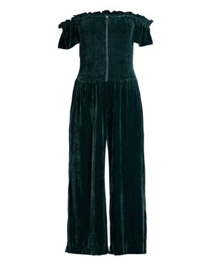 Londyn Smocked Velvet Off-Shoulder Jumpsuit, Everglade