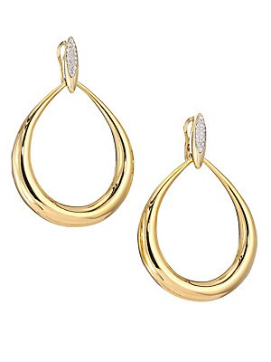 b4b98cccf Roberto Coin - 18K Yellow Gold & Diamond Teardrop Hoop Earrings - saks.com