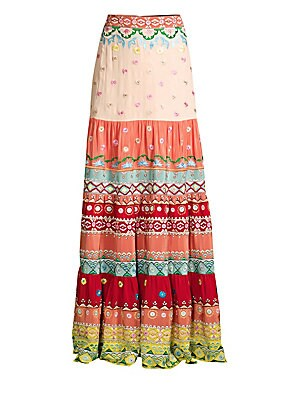 Isabel Floral Embroidered Stripe Silk Maxi Skirt by Saloni
