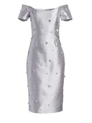 CATHERINE REGEHR Oriel Off-The-Shoulder Embellished Metallic Sheath Dress in Dove Grey