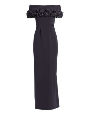 CATHERINE REGEHR Grace Off-The-Shoulder Floral Appliqué Trumpet Gown in Charcoal