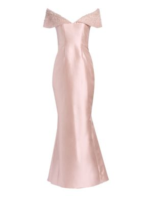 CATHERINE REGEHR Anna Off-The-Shoulder Embellished Trumpet Gown in Pale Pink